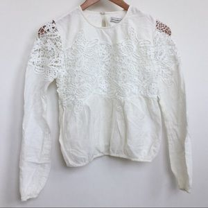 Abercrombie & Fitch Cream Lace Panel Blouse